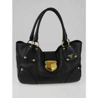 Prada BR4627 - Vitello Daino Tote Bag in Black Colour