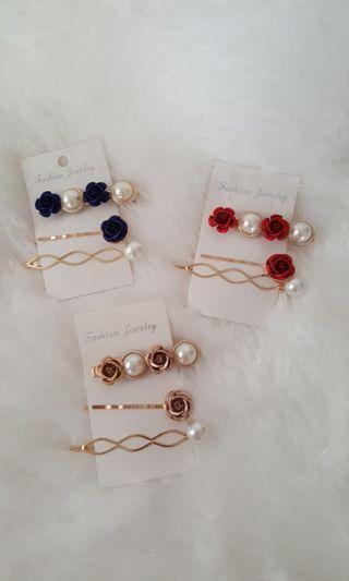 Rose Hairclip Set