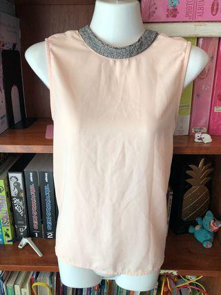 Peach Sequin collar Top Blouse S-M
