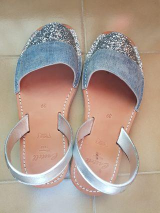 Castell size 39 blue and silver sparkly shoes