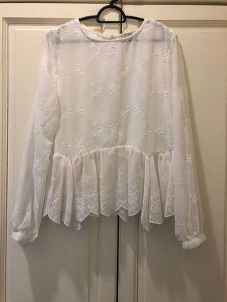 White Flowy Blouse