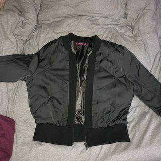 Khaki quilted bomber jacket