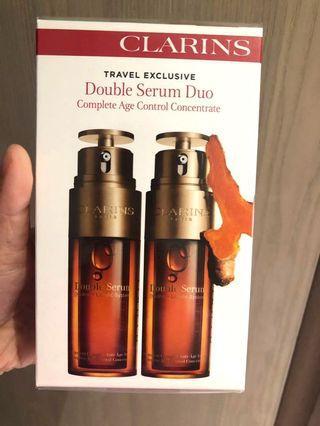 〈有現貨〉(員工最抵價😍)皇牌Clarins Double Serum 賦活雙精華 Travel Set 50ml x2  專櫃已升價 (專櫃價$1510, 內部價$1375),100%專櫃正貨,有單據相片及批號參考提供