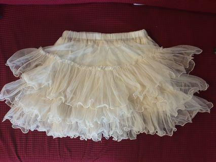 Korean off white net short skirt