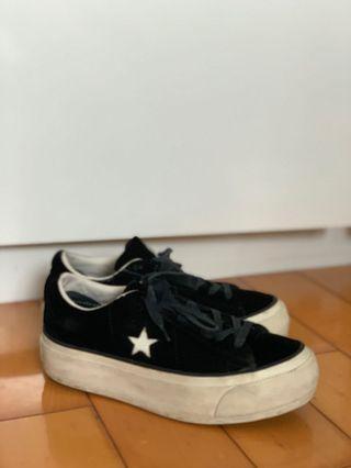 converse platform black sneakers