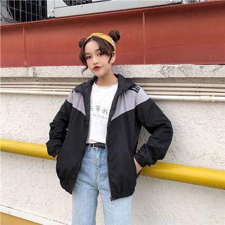 🚚 #281 ulzzang retro vintage windbreaker zip up hoodie jacket colourblock black grey stripes adidas bf