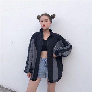 #282 black grey ulzzang vintage windbreaker jacket zip up retro oversized bf palace colourblock two tone stripe