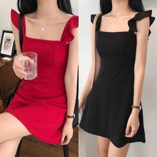 #283 red/black formal dress square neck flutter sleeves ulzzang midi summer