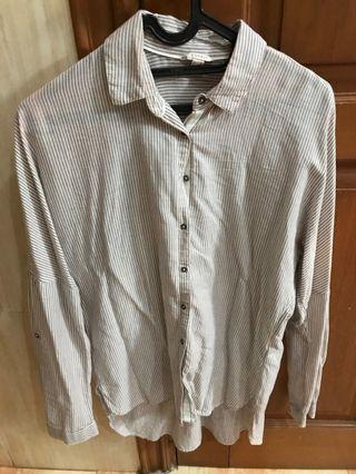 Women's white & brown striped blouse