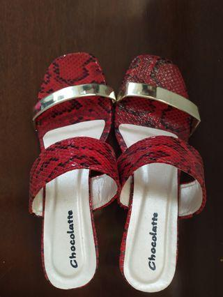 Wedges Red snake synthetic leather - Sandal wedges
