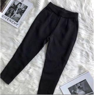High Waist Textured Black Pants M