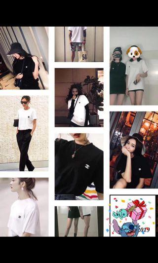 Chanel 短袖 黑白兩色雙C刺繡Logo短袖