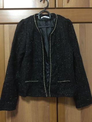 [KOREA] Women Black Sparkle With Gold Chain Details Jacket