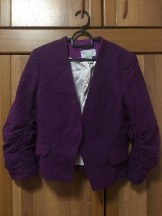 [H&M] Women Purple Textured Details Smart Jacket - No Tags