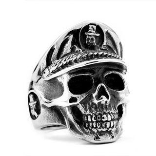 《 QBOX 》FASHION 飾品【RBR8-454】精緻個性龐克風骷顱頭鑄造鈦鋼戒指/戒環
