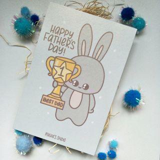 🚚 Happy Father's Day Best Dad Grey Bunny 4R Print/Postcard