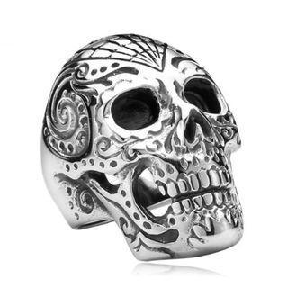 《 QBOX 》FASHION 飾品【RBR8-150】精緻個性龐克風骷顱頭鑄造鈦鋼戒指/戒環
