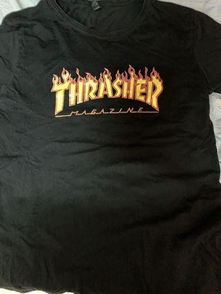 thrasher black t 恤
