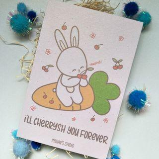 🚚 I'll Cherrysh You Forever cute pink bunny 4R Print