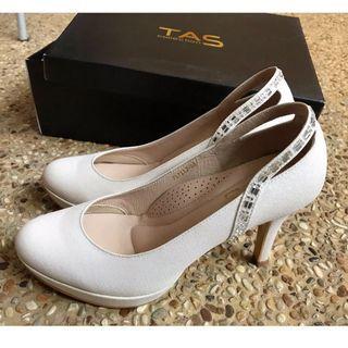 TAS 後鏤空方鑽曲線金蔥高跟鞋【23cm】