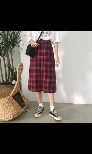Women Midi Plaid Red and Navy Blue Printed Button Up Skirt