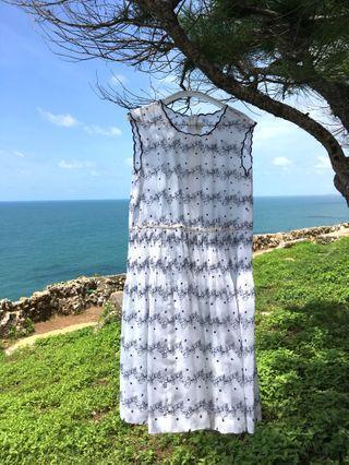Vintage embroidery pleats dress