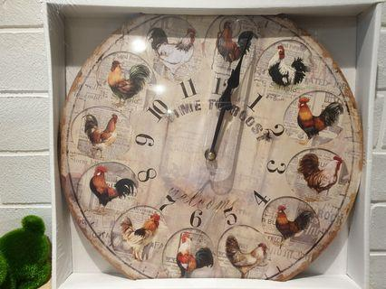 Wall Clock Vintage Rooster Home Decor