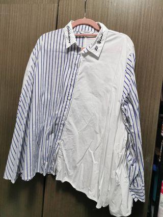 全新韓貨 藍白直間恤衫