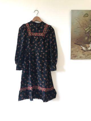 70/80s Boho Edwardian/Prairie Flower Printed Dress