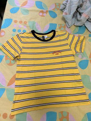 🚚 H&M yellow white striped top