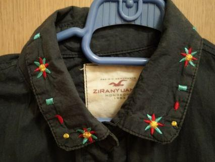 Dark blue embroidery long sleeve shirt