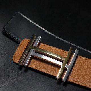 Handmade belt in Hermès Togo and box leather for clients Hermès buckle