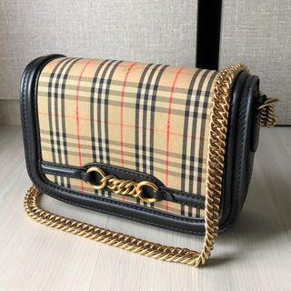(Bargain!) Burberry (RP $1880) The 1983 Check Link Bag with Leather Trim