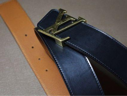 Handmade belt in Hermès Togo and box leather for clients LV buckle belt replacement