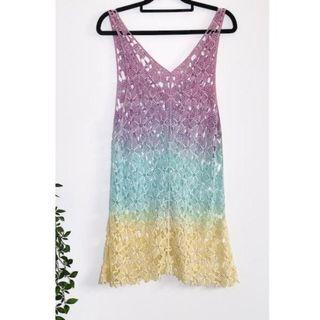 Purple Blue Yellow Festival Floral Crochet dress - Size 8
