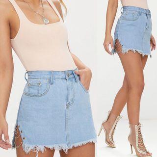 Light Denim Wash Chain Mini Skirt