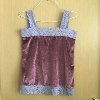Purple Lace Velvet Tank 紫色喱士肩袋絨面背心