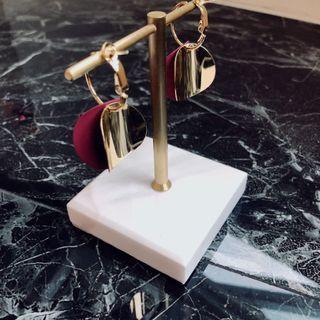 韓國雙色圈圈耳環