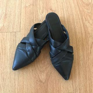 TopShop Black Leather Woven Flat Mules