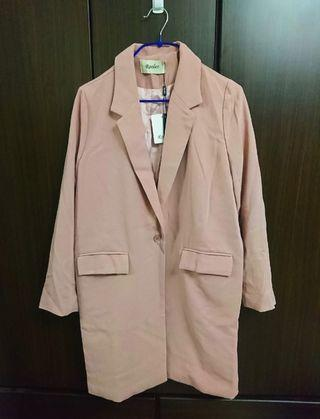 全新 粉色 雪紡 單扣西裝外套