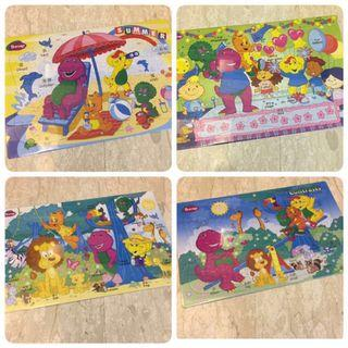 🚚 BNIP Lot of 4 Barney Bilingual Jigsaw Puzzles