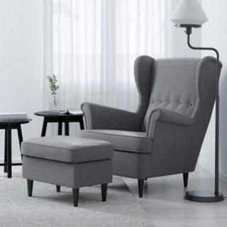 Strandmon Wing Chair Armchair with Foot Stool