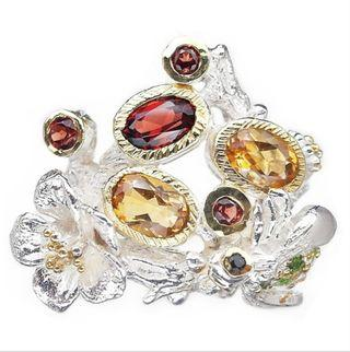 NATURAL MULTI - GEMSTONES FLOWER & INSECT PLATED WHITE & YELLOW GOLD 925 STERLING PERAK ASLI IMPORT PARTY FREE SIZE