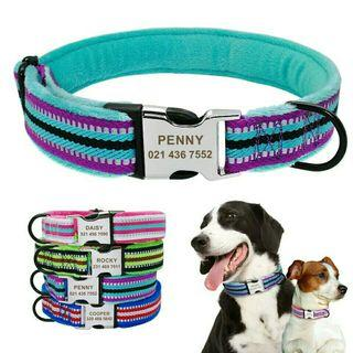 [Pre-Order] Dog Collar Personalized Nylon Pet Puppy Tag Collar Soft Padded