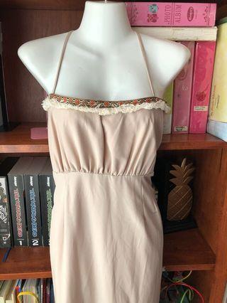 Bohemian style long maxi beige dress L