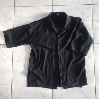 Black Plain Button Up Top