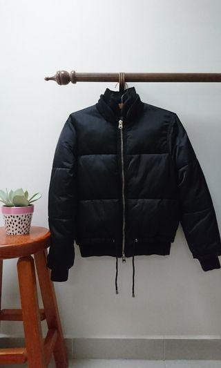 topshop black puffer bomber jacket size 6 xs