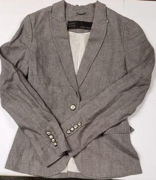 Zara Women Linen Blazer (Grey colour)