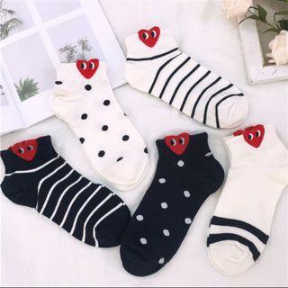 SM11 CDG Socks heart eye stripes polkadot