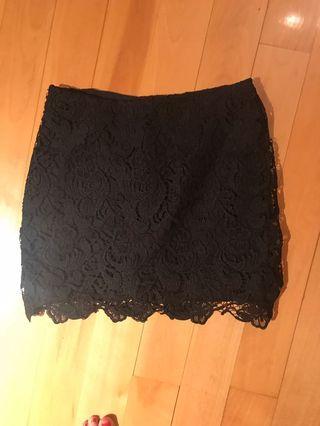 H&M black lace mini skirt